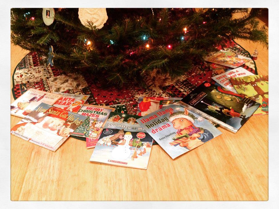 books under tree